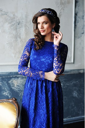 """Платье """"Ажур2"""" синий"""